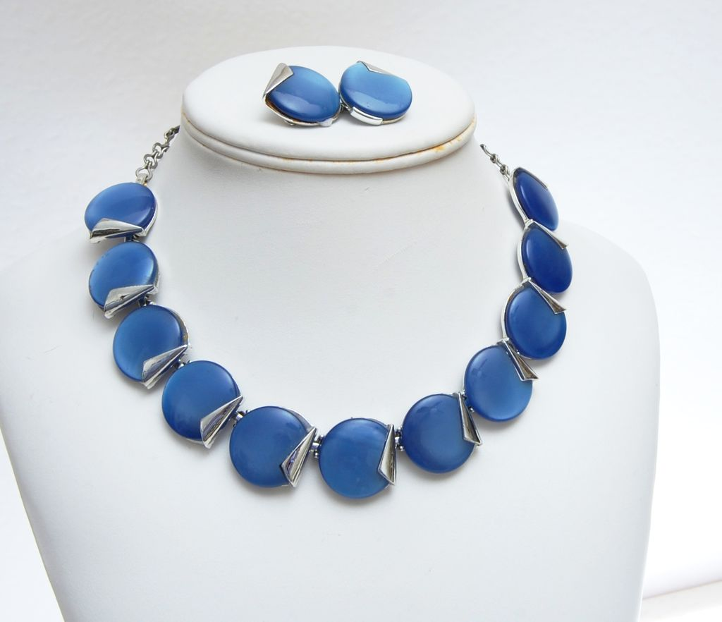 Charel Blue Lucite or Thermoset Necklace and Earrings Set