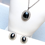 Whiting and Davis Hematite Necklace and Earring Set