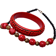 Cinnabar Bracelet and Necklace Set