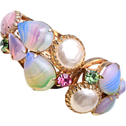Colorful Glass and Faux Pearl Clamper Bracelet