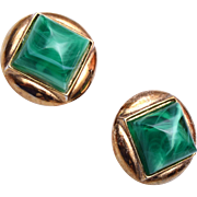 Trifari Green Lucite Earrings