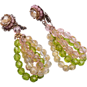Beautiful Glass and Crystal Dangle Earrings