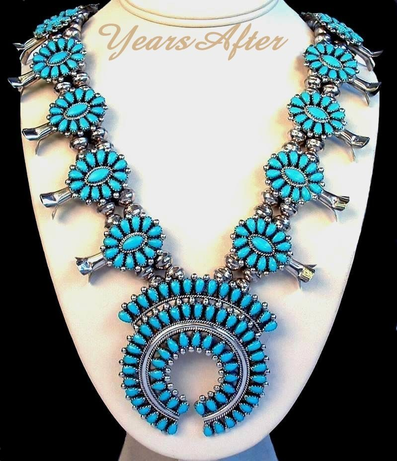LONG Vintage Native American Navajo SQUASH Blossom Necklace Turquoise STERLING c.1970's!