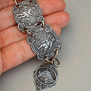 Art Deco GUNMETAL Bracelet Children Dog Charm Signed SPAIN c.1920's!