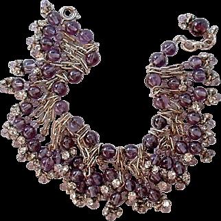 SALE Vintage Charm BRACELET Amethyst Glass CLEAR Rhinestone Beads c.1950's!