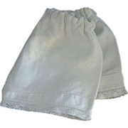 ANTIQUE Bebe DOLL Pantaloons DRAWERS Undergarment White LACE Trim Pin Tucks c.1900's