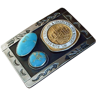SALE SIGNED Vintage IRONWORKERS Sterling Silver Native American TURQUOISE Belt BUCKLE Hand Stampings Iron Workers 97.5 Grams c.1960's
