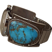 """Rare """"BLUE DIAMOND Turquoise"""" Vintage Native American Sterling WATCHBAND Tips Automatic Wristwatch Accurate Time c.1960s"""