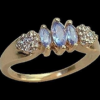 SALE Vintage 10K GOLD Diamond TANZANITE RING Promise, Engagement or Birthstone Ring Hallmarked Size 6