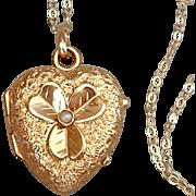 14K GOLD Antique HEART Shape Victorian LOCKET Seed Pearl, Shamrock, Rock Crystal Covers, 14K Chain c.1870s