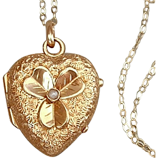 SALE 14K GOLD Antique HEART Shape Victorian LOCKET Seed Pearl, Shamrock, Rock Crystal Covers, 14K Chain c.1870s