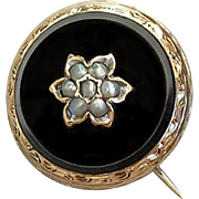 14K GOLD Pearl Antique VICTORIAN Mourning BROOCH Black Onyx Memorial Jewelry c.1870s
