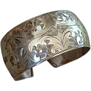 Antique 950 VICTORIAN Sterling Silver BANGLE Bracelet CUFF Floral Paisley Scrollwork 27 Grams c.1900s