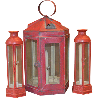 Folk Art Metal Lantern Candle Holder And A Pair Of Candle Holders