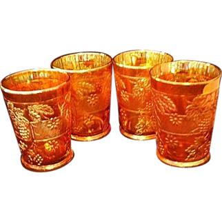REDUCED Fenton Marigold Carnival Glass Floral & Grape Tumblers - Set of Four