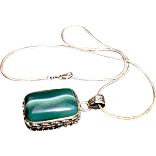 REDUCED Sterling Silver Necklace Malachite Pendant