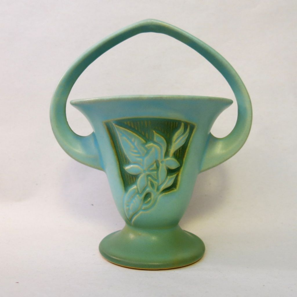 Roseville Pottery Blue Silhouette Basket