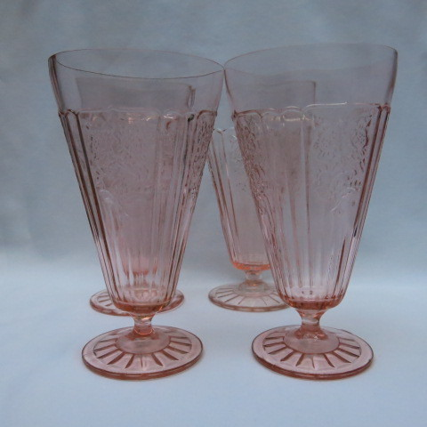 Mayfair Open Rose Pink Depression Footed Tumblers - Set of Four (4)