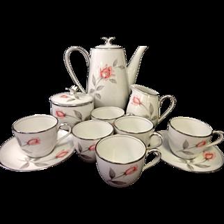 REDUCED Noritake Rosemarie Demitasse Tea Set - 13 Pieces