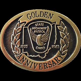 Ohio State Highway Patrol Golden Anniversary Belt Buckle
