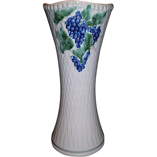 """MCCOY """"Antique Curio"""" 14 1/2"""" Tall White Vase - Grapes & Leaves"""
