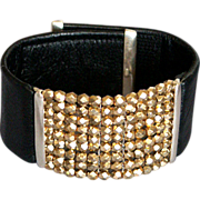 Black leather cuff Czech gold tone crystal beads silver accents designer bold bracelet
