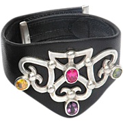 Leather choker silver heart shield peridot amethyst citrine zircon designer bracelet