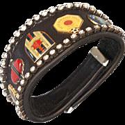 Bikers couture jewelry leather rhinestones emblems cuff bracelet