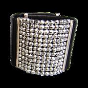 Black leather cuff silver tone Czech beads mesh bold bracelet