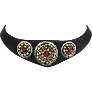 Statement leather silver and beads choker contemporary jewelry design upscale necklace