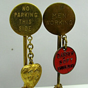 2 Vintage Warning Traffic Sign Figural Charm Pins Sweetheart Love Tokens
