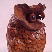 SALE Hand Carved Wood Indonesian Owl Figure