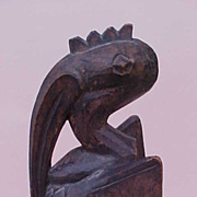 African Senufo Hornbill Carved Wood Statue