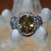 Heliodor and Diamond Ring