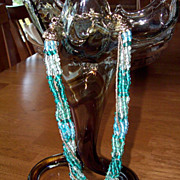 Shades of the Sea Vintage Glass Napier Necklace
