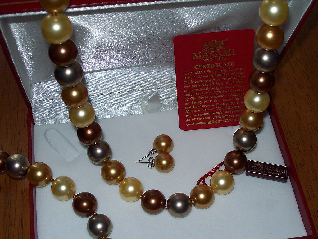 Golden Masami Cultured Pearl Necklace, Bracelet and Earring Set