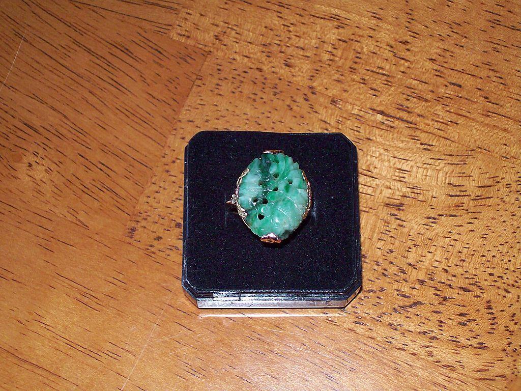 Jadeite and Tri Colored 18 Karat Gold Estate Ring - Circa 1920