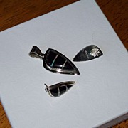 Inlaid Opal, Black Onyx and Silver Earrings and Pendant Set