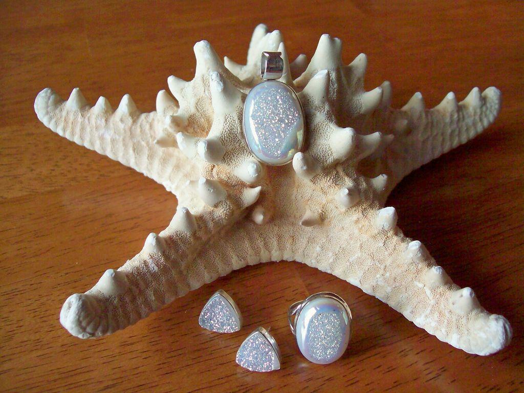 Shimmering White Druzy, Earrings/Ring/Pendant Set