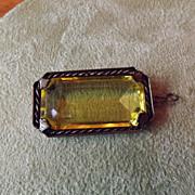Vintage Glass framed in Brass Pendant