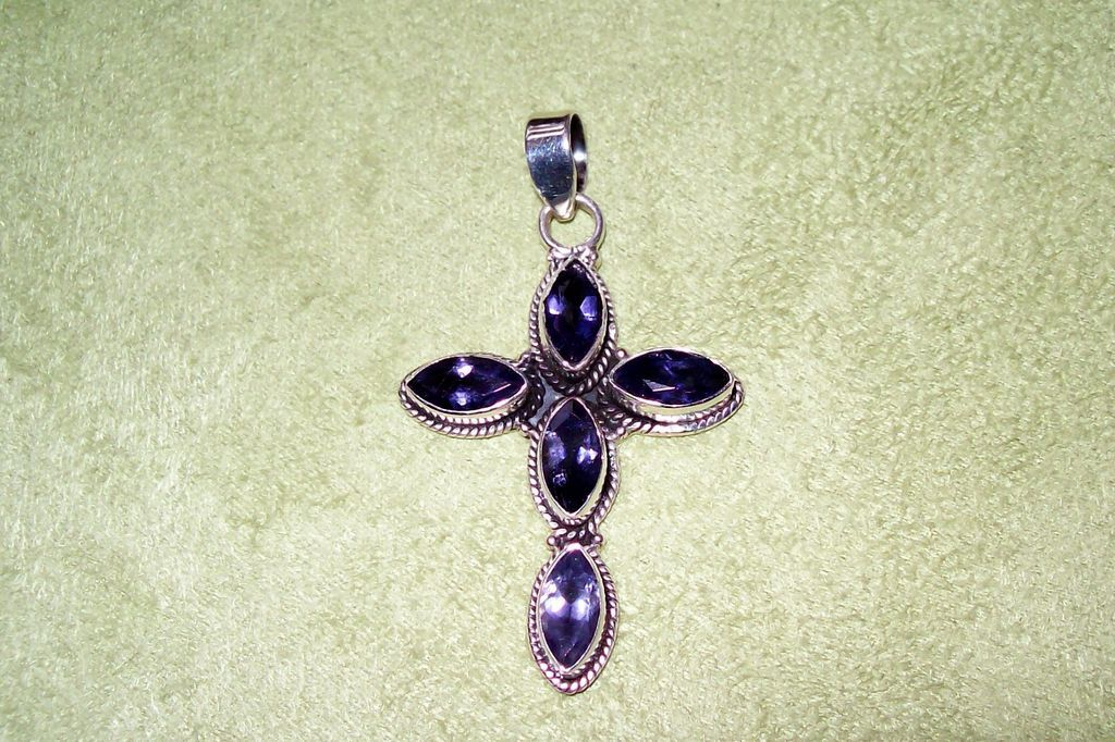 Tanzanite and Sterling Silver Cross