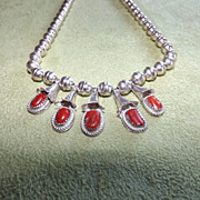Native American Sterling Silver and Red Coral Squash Blossom Necklace