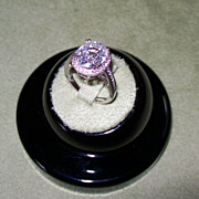 NATURAL White Zircon set with Diamonds in 14 Karat White Gold