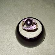 Black Tahitian Pearl and Diamond Ring in Yellow Gold