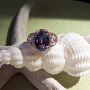 Created Sapphire and White Topaz Ring