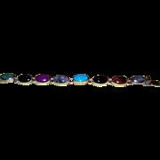 Natural, Multi-Stone Cabochon Cut Mexican Silver Bracelet